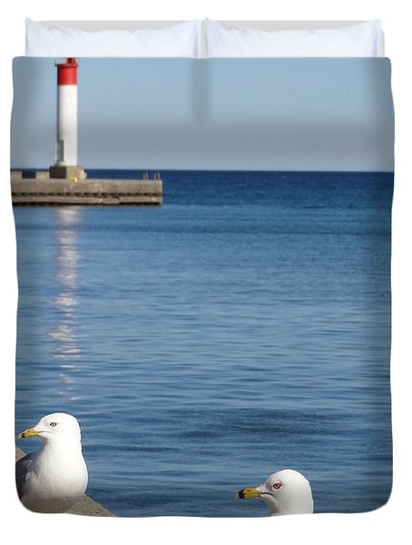 Bronte Lighthouse Gulls Duvet Cover