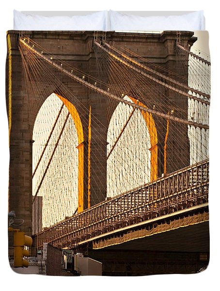 Duvet Cover featuring the photograph Brooklyn Bridge - New York by Luciano Mortula