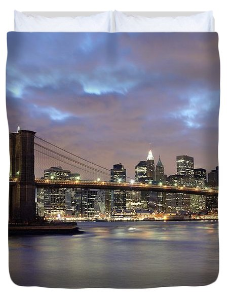 Brooklyn Bridge And Lower Manhattan Duvet Cover by Axiom Photographic