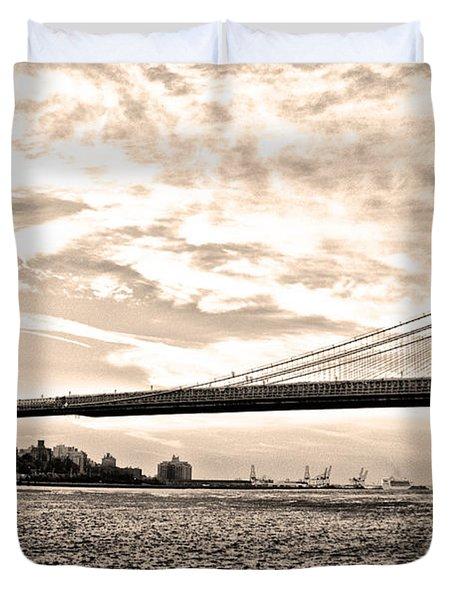 Brooklyn Bridge In Sepia Duvet Cover by Bill Cannon