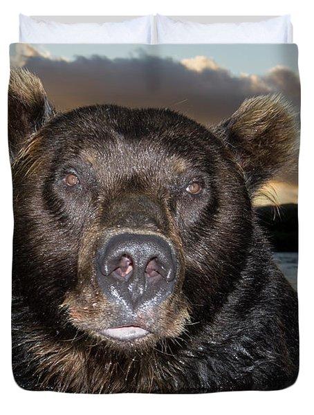 Brown Bear Ursus Arctos In River Duvet Cover by Sergey Gorshkov