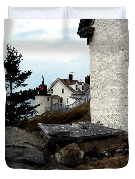 Browns Head Lighthouse Duvet Cover by Skip Willits