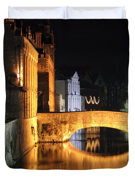 Duvet Cover featuring the photograph Bruge Night by Milena Boeva