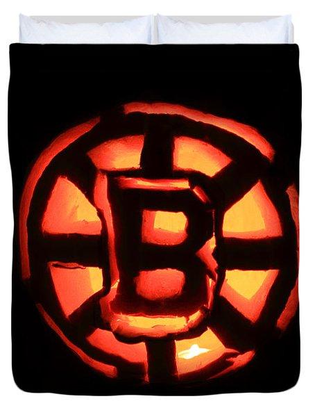 Bruins Carved Pumpkin Duvet Cover by Lloyd Alexander