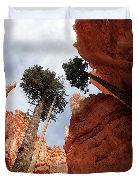 Duvet Cover featuring the photograph Bryce Canyon Towering Hoodoos by Karen Lee Ensley