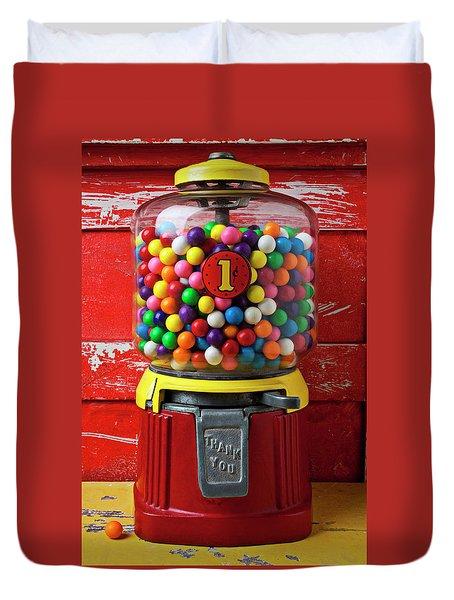 Bubblegum Machine And Gum Duvet Cover by Garry Gay