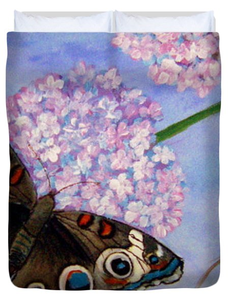 Duvet Cover featuring the painting Buckeye Butterfly by Fram Cama