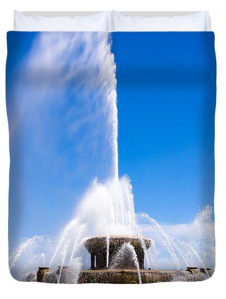 Buckingham Fountain In Chicago Duvet Cover by Paul Velgos
