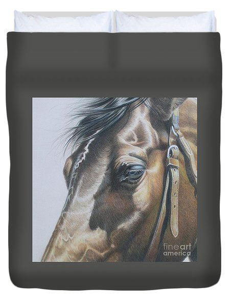 Buckles And Belts In Colored Pencil Duvet Cover by Carrie L Lewis