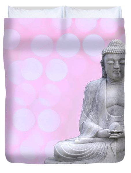 Buddha Enlightment Red-yellow Duvet Cover by Hannes Cmarits