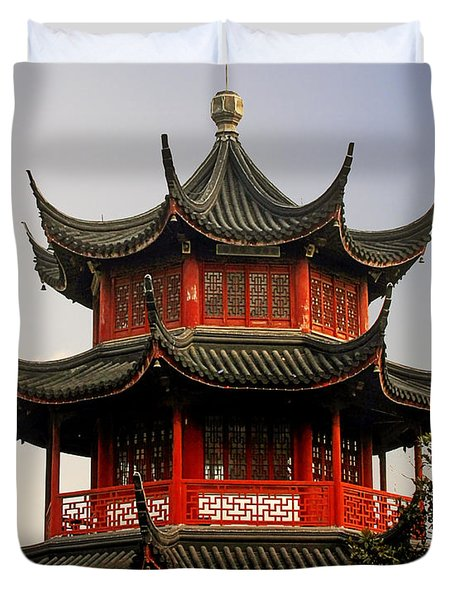 Buddhist Pagoda - Shanghai China Duvet Cover by Christine Till