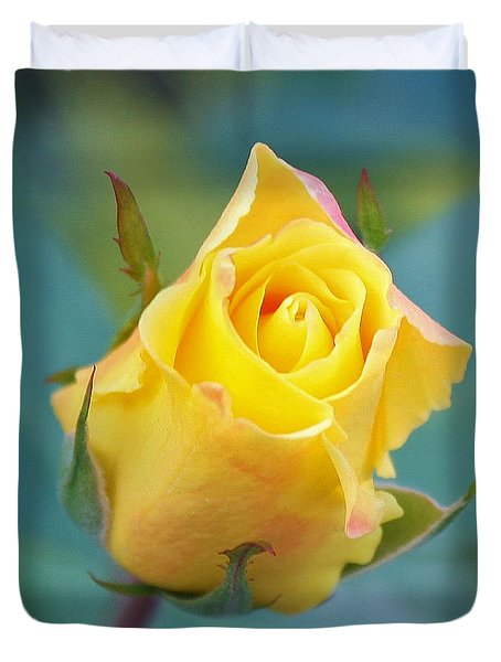 Budding Yellow Rose Duvet Cover