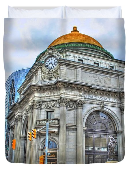 Duvet Cover featuring the photograph Buffalo Savings Bank  Goldome  M And T Bank Branch by Michael Frank Jr