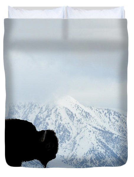 Duvet Cover featuring the photograph Buffalo Suvived Another Yellowstone Winter by Dan Friend