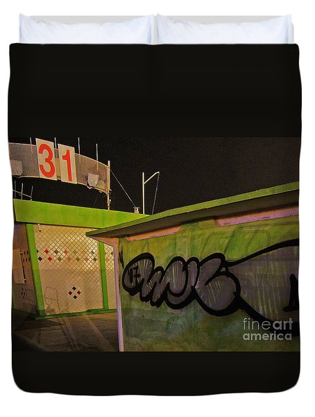 Duvet Cover featuring the photograph Building 31 Rimini Beach Graffiti by Andy Prendy