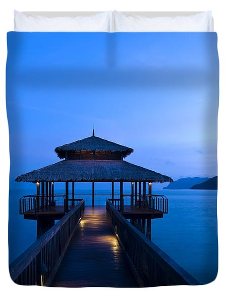 Building At The End Of A Jetty During Twilight Duvet Cover