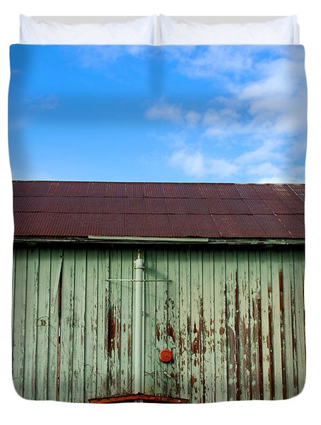 Duvet Cover featuring the photograph Building Series - Red Shack by Kathleen Grace