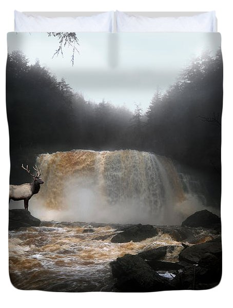 Duvet Cover featuring the photograph Bull Elk In Front Of Waterfall by Dan Friend