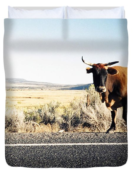 Bull On The Road Duvet Cover by Peter Mooyman