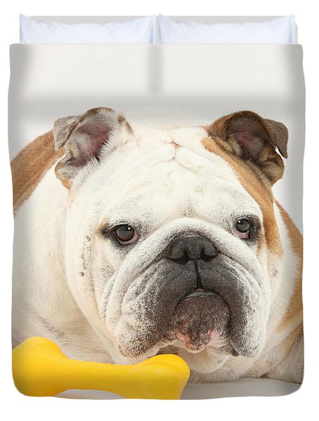 Bulldog With Plastic Chew Toy Duvet Cover by Mark Taylor