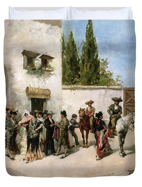 Bullfighters Preparing For The Fight  Duvet Cover by Vicente de Parades