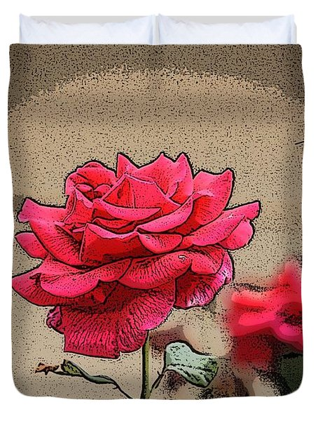 Duvet Cover featuring the photograph Bumble Bee And Rose by Donna  Smith