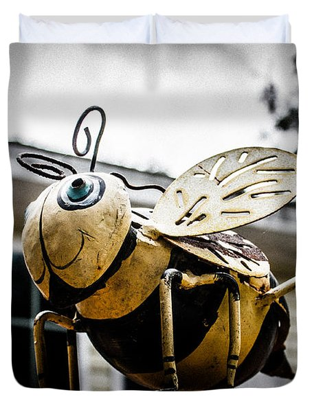 Bumble Bee Of Happiness Metal Statue Duvet Cover by Robin Lewis