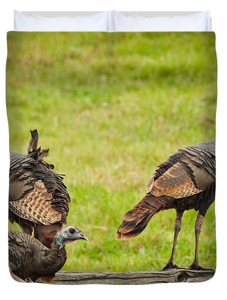Bunch Of Turkeys Duvet Cover by Cheryl Baxter
