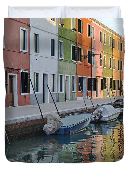 Duvet Cover featuring the photograph Burano Canal by Rebecca Margraf