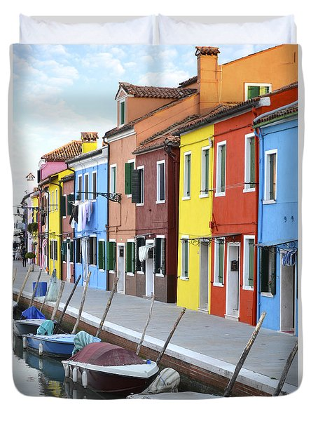 Duvet Cover featuring the photograph Burano Italy 2 by Rebecca Margraf