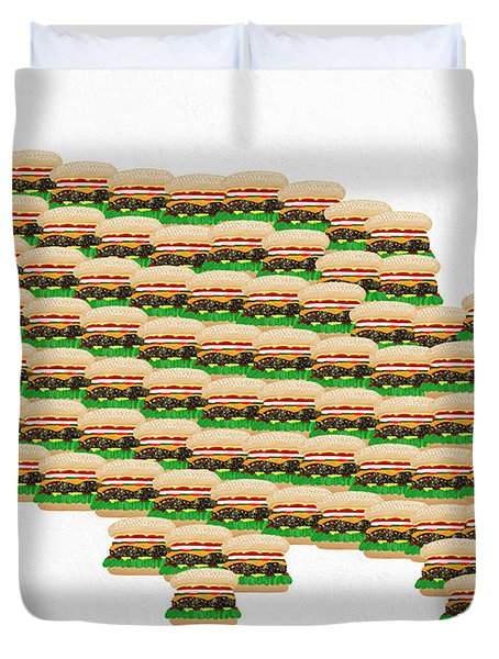 Burger Town Usa Map White Duvet Cover by Andee Design
