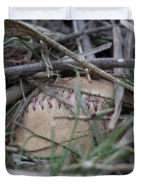 Duvet Cover featuring the photograph Buried Baseball by Stephanie Nuttall