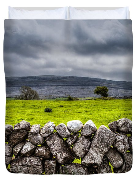 Duvet Cover featuring the photograph Burren Stones by Juergen Klust
