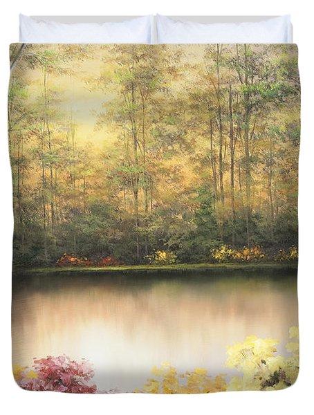 Bursting In Autumn Duvet Cover by Diane Romanello