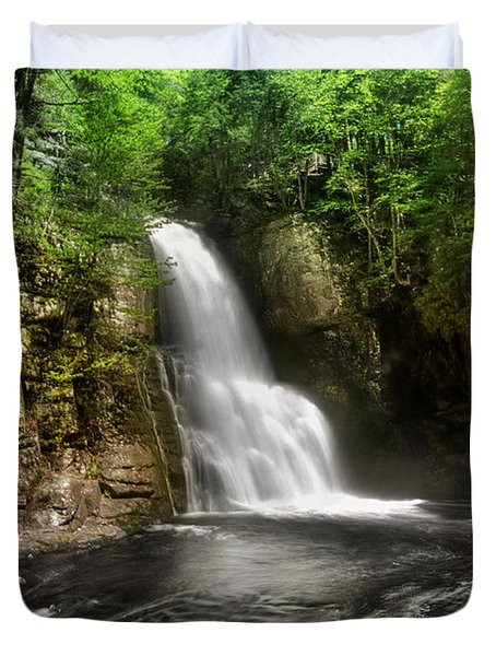 Bushkill Waterfalls Duvet Cover by Yhun Suarez