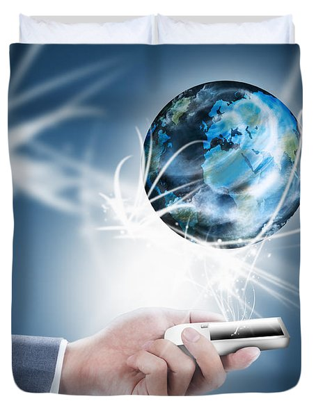 Businessman Holding Mobile Phone With Globe Duvet Cover