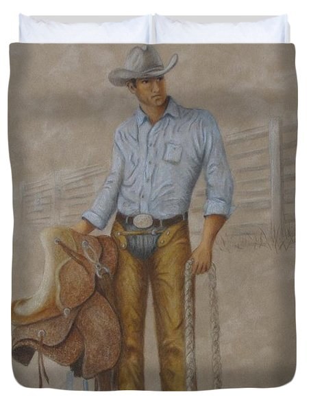 Busted Bronc Rider Duvet Cover