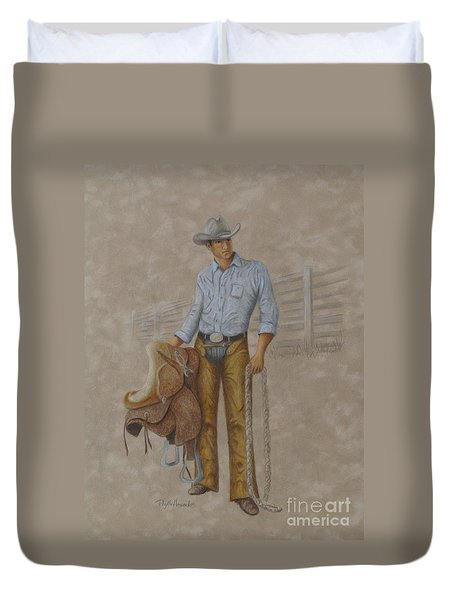 Duvet Cover featuring the painting Busted Bronc Rider by Phyllis Howard