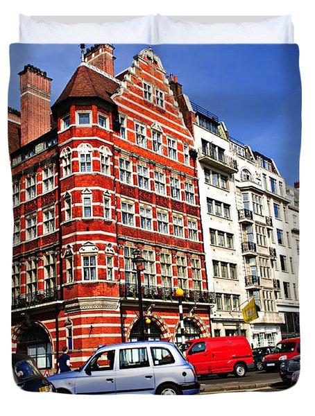 Busy Street Corner In London Duvet Cover by Elena Elisseeva