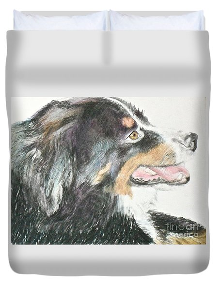 Duvet Cover featuring the drawing Buttercup The Wonderdog by Beth Saffer