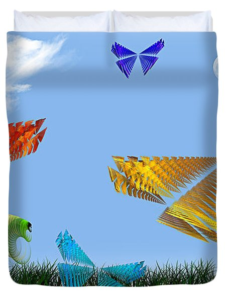 Butterflies Are Free To Fly Duvet Cover by Andee Design