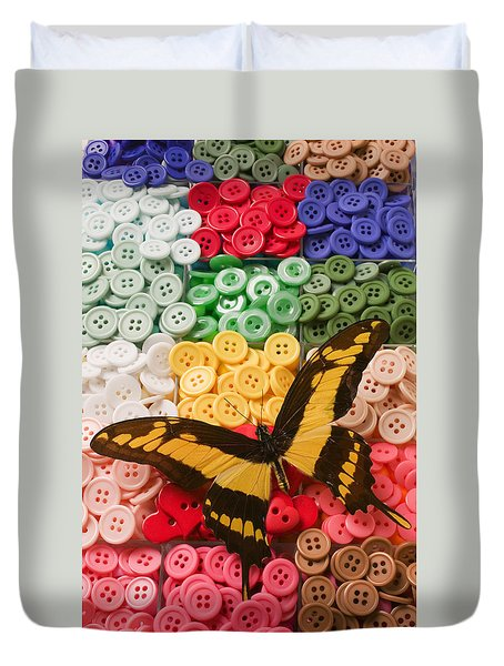 Butterfly And Buttons Duvet Cover by Garry Gay