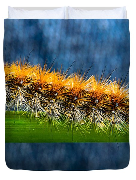 Butterfly Caterpillar Larva On The Stem Duvet Cover