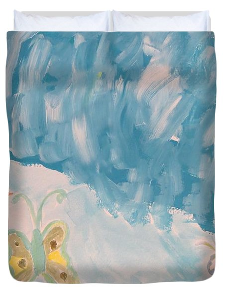 Duvet Cover featuring the painting Butterfly Flight by Sonali Gangane