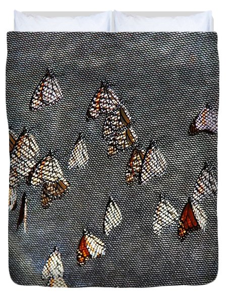 Duvet Cover featuring the photograph Butterfly Gathering by Tam Ryan