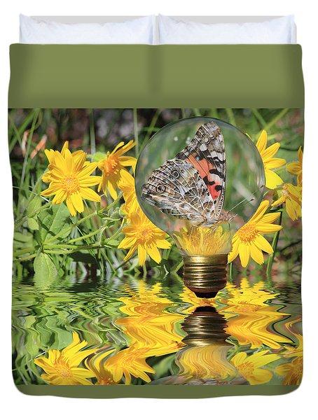 Butterfly In A Bulb II - Landscape Duvet Cover