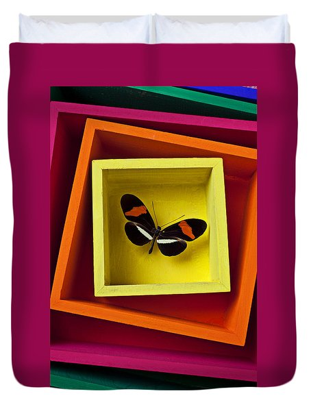 Butterfly In Box Duvet Cover by Garry Gay