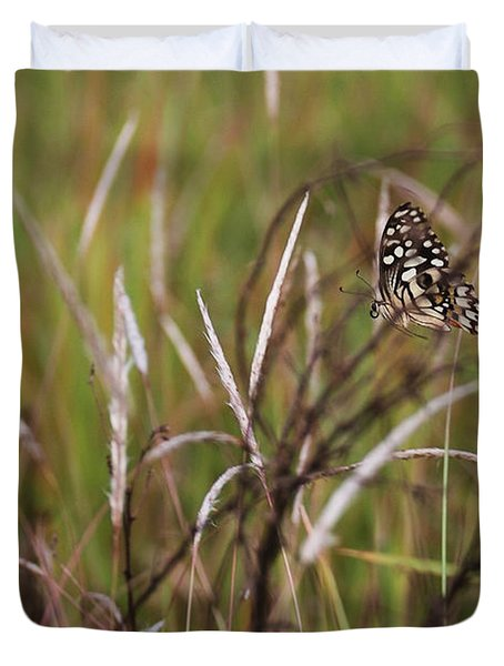 Duvet Cover featuring the photograph Butterfly In Flight by Fotosas Photography