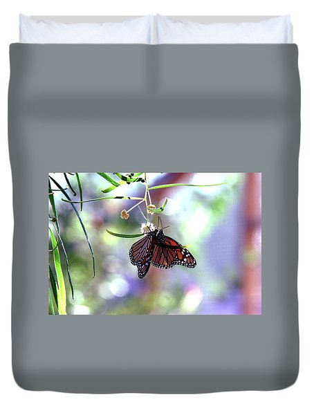 Duvet Cover featuring the photograph Butterfly Meet-up by Tam Ryan