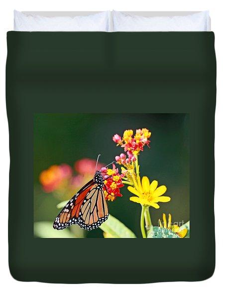 Butterfly Monarch On Lantana Flower Duvet Cover